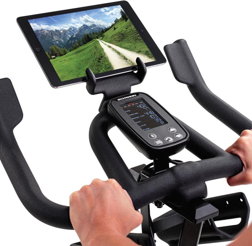 IC4 Bike console with tablet (tablet not included) - expanded view