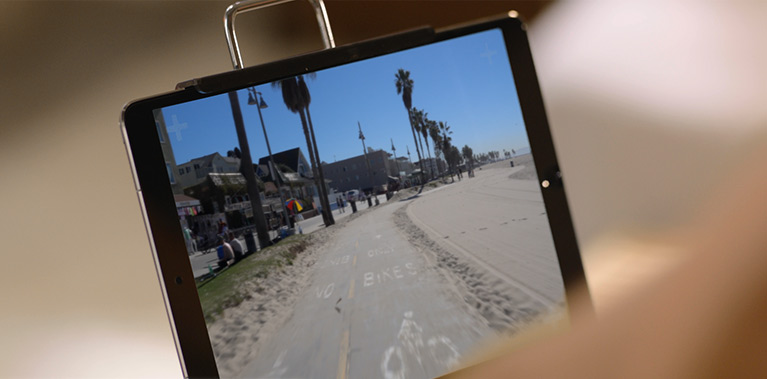 Image of beach on a tablet