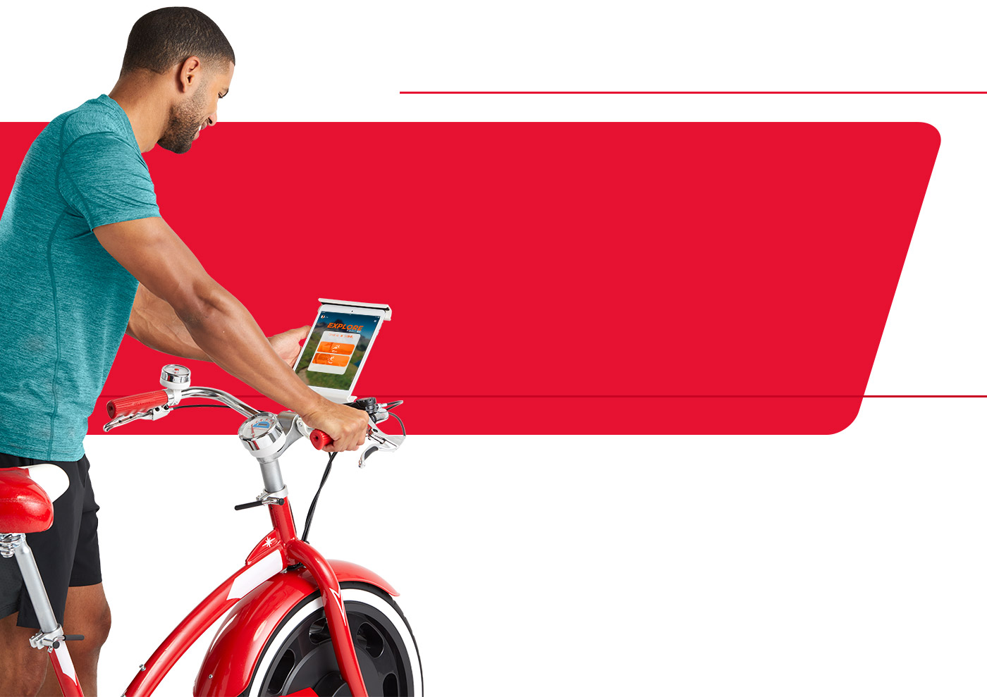 man using app with the Classic Cruiser upright bike